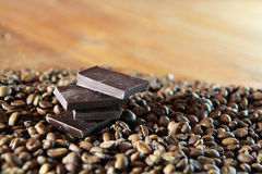 Chocolate. Aromatic chocolate with coffee beans Stock Photography