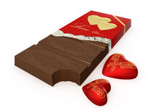 Chocolate. With red hearts on a white background Stock Photography