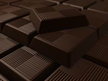 Chocolate. 3d rendered illustration from many pieces of chocolate Stock Photo