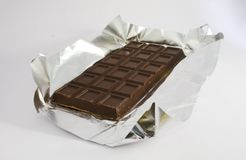Chocolate. Block brown candy chocolate  isolated Stock Image