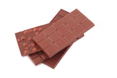 Chocolate. Milk chocolate on white background royalty free stock images