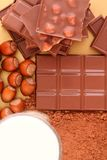 Chocolate. Milk, cocoa and nuts stock image