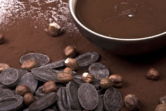 Chocolate. Pot of melted chocolate still life Stock Image