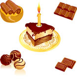 Chocolate. Collection of delicious chocolate desserts royalty free illustration