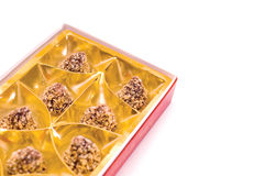 Chocolate. Candy in box on the white stock images