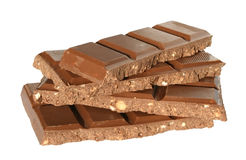 Chocolate. Bar chocolate on a white background Royalty Free Stock Photos
