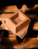 Chocolate. Bar of chocolate broken Royalty Free Stock Photography