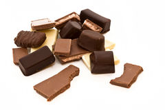 Chocolate. Choholate pieces white background isolate Royalty Free Stock Photos