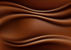 Chocolate Abstract Background, Brown Drapery Silk Fabric, Vector Illustration Stock Photography
