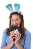 Chocolate adolescente de la consumición Fotos de archivo libres de regalías