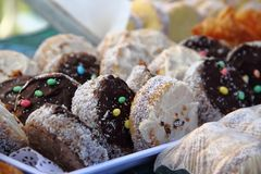Chocolate alfajor for sale at the street fair royalty free stock image