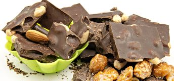 Chocolate with almond Stock Images