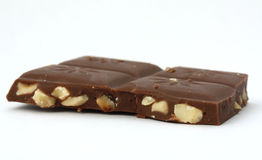 Chocolate and Almond Bar. Isolated on white stock photography