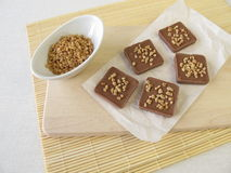 Chocolate with almond brittle Stock Image