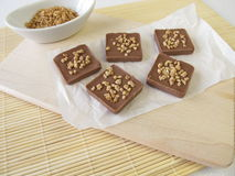 Chocolate with almond brittle Royalty Free Stock Photography