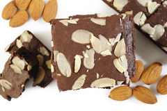 Chocolate and almond brownies Royalty Free Stock Photography