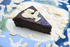 Chocolate and almond cake Royalty Free Stock Images