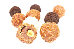 Chocolate and almond center. Royalty Free Stock Image