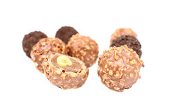 Chocolate and almond center. Stock Image