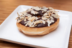 Chocolate Almond Donut Stock Images
