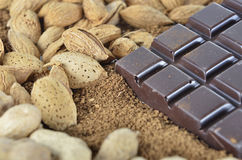 Chocolate and almond on the instant coffee Royalty Free Stock Photo