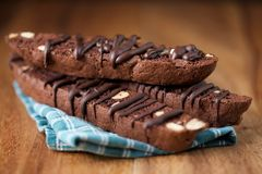 Chocolate Almond Italian Biscotti on Wood Background Royalty Free Stock Photo