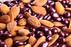 Chocolate and almond nuts Royalty Free Stock Photography