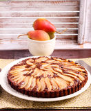 Chocolate and almond tart with pear Royalty Free Stock Image