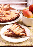 Chocolate and almond tart with pear Royalty Free Stock Photo