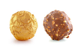 Chocolate  with almond on white background. Royalty Free Stock Photography