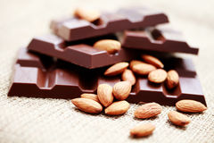 Chocolate with almonds Royalty Free Stock Photos