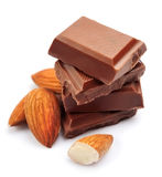 Chocolate with almonds . Stock Images