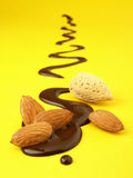 Chocolate almonds on drawing Royalty Free Stock Images