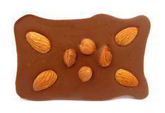 Chocolate with almonds and hazelnuts Royalty Free Stock Photos