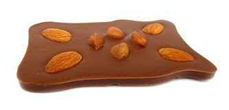 Chocolate with almonds and hazelnuts Stock Photo