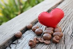 Chocolate almonds with heart Royalty Free Stock Photography