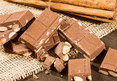 Chocolate with Almonds Stock Images