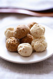 Chocolate and almonds meringues Stock Photos