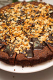 Chocolate and almonds torte Royalty Free Stock Photography