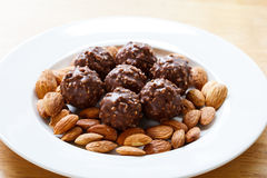 Chocolate and almonds Royalty Free Stock Image