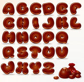 Chocolate Alphabet. Cool Chocolate Alphabet. Cartoon Font for Your Design and Text royalty free illustration