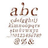Chocolate Alphabet Lower Case Italic. Associated with each type of chocolate and coffee can be used in the design of Royalty Free Stock Photography