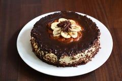 Free Chocolate And Banana Cheesecake With Ganache Stock Photography - 30283182