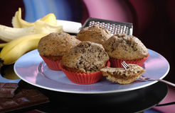Free Chocolate And Banana Muffins Royalty Free Stock Image - 27665186