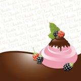 Chocolate And Blackberry Ice-cream Stock Image