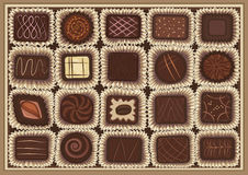 Chocolate assortment. Vector illustration of chocolate assortment in a box Stock Images