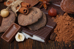 Chocolate assortment with cocoa powder Stock Images