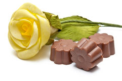 Chocolate assortments and a rose Royalty Free Stock Photography