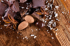 Chocolate assorttment with spices Royalty Free Stock Images