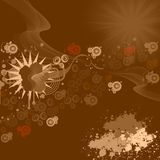 Chocolate background. Circles, flower, waves and sun on chocolate background Royalty Free Stock Photography